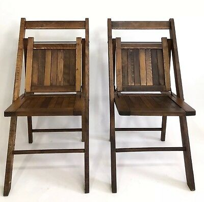 2 Vintage Antique Wooden Folding Chairs Wood Slat Seats Pair Set