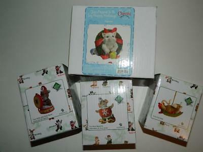 Charming Tails Holiday Xmas Figurines Purrsonalities Cat Mouse Ornament Set/4