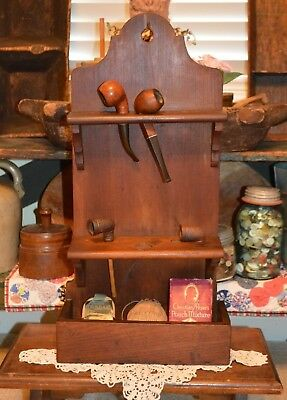 US Revolution Era 1700's Pipe Wall Shelf Rack Dovetailed Joints Patina Vtg Pipes