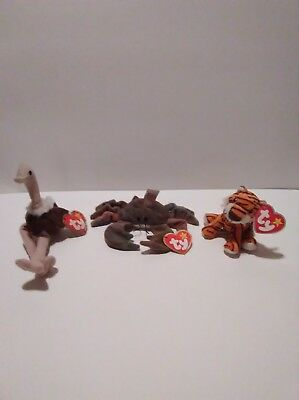 Lot of 3 Teenie Beanie Babies Stretchy Ostrich, Oasis, Claude the Crab