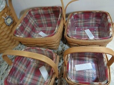 Longaberger 4 Basket Combos Lg,md,sm Berry Basket Combo Tarragon-Orchard Plaid