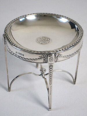 Rare Sterling Silver Card Dish Etc in Table Form by John Round, England 1910