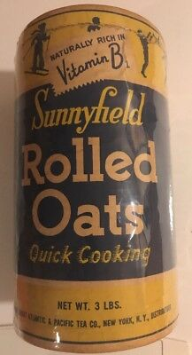 Vintage A&P Atlantic Pacific Tea Sunnyfield Rolled Oats Cardboard 1950s 3 Lbs
