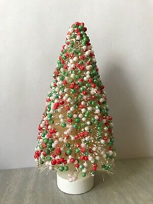 "5.75"" Red White Green Beaded Sisal Bottle Brush CHRISTMAS TREE Snow Village Putz"