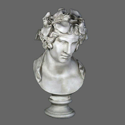 "Dionysus Bacchus Greek Roman God bust 28"" Museum Sculpture Replica Reproduction"