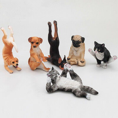Small Animal Figure Model Kitten Puppy Cat Dog Sports Series Decoration Toy Gift