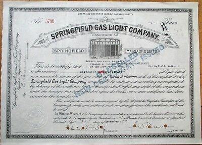 Springfield Gas Light Co. 1925 Stock Certificate - MA Massachusetts Mass