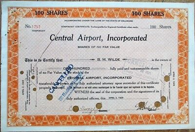 Central Airport 1929 Stock Certificate - Aviation, 'Temporary Certificate'