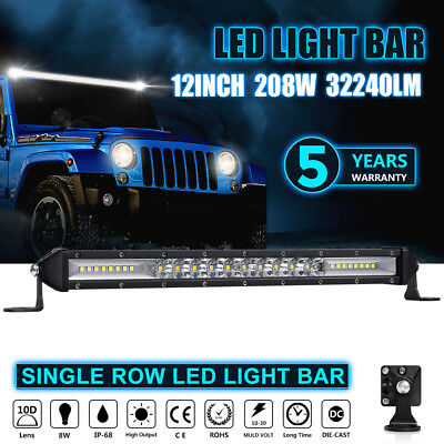 12Inch 208W CREE LED Work Single Row Light Bar Combo Beam Driving For JEEP Lamp