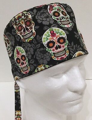 Halloween Colorful Skulls Lined Medical Surgery OR Skull Scrub Hat Chemo Cap