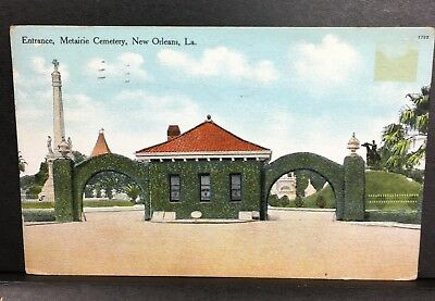 Entrance Metairie Cemetery New Orleans La Louisiana Vintage Postcard Post card