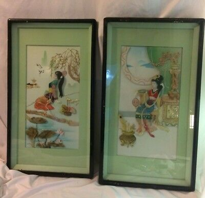 Vintage Asian Mother of Pearl Shell 3D Set of 2 Picture Panels