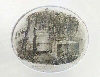 Rare Mid-19Th C B. Sande Signed 1851 Oval Memorial Graphite Drawing For Napoleon