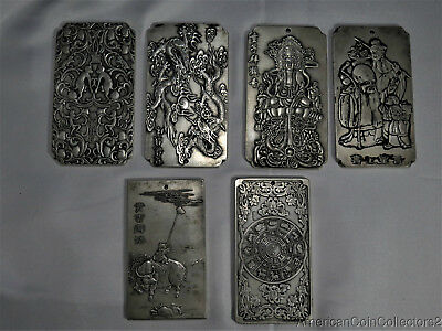 Collection of 6 Chinese Zodiac Silvered Bronze Plaques and Scroll Weights   7227
