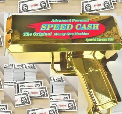 Money Gun ▶ Electric GOLD CHROME ▶Toy Guns Shoots Out Money, Battery Operated.▶