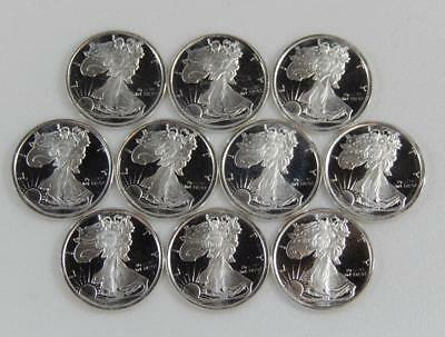 Lot of 10 American Eagle Style 1/10 Troy Ounce 999 Fine Silver Rounds C0670