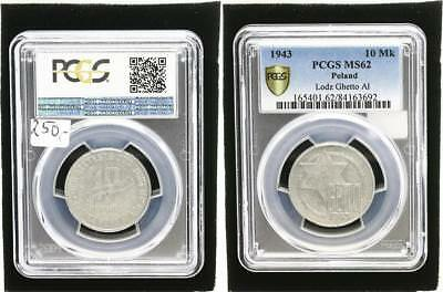 10 Mark 1943 Poland Getto Litzmannstadt for Prfr Small Stains PCGS MS62