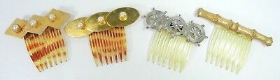 Faux Tortoise Shell, Clear & Gold Colored Metal Hair Side Combs Vintage