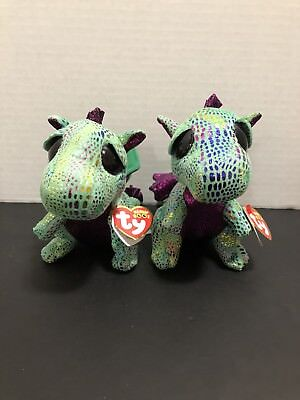 Ty Beanie Boo's Cinder Green Dragon Lot of 2 Stuffed Animal Plush Toys 6 Inches