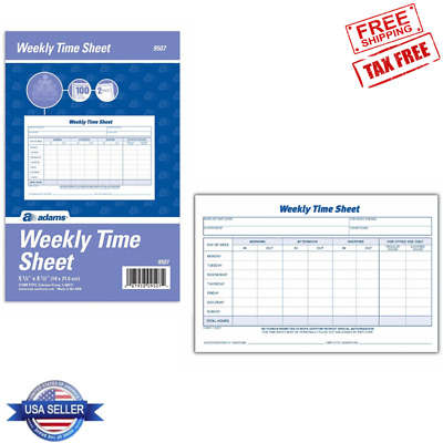 """2 Pads Adams Weekly Time Sheet 5.5 x 8.5"""" Blue/White 100 Sheets/Pad Time Tracker"""