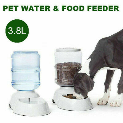 Automatic Water/Food Pet Dog Cat Puppy Dispenser Feeder Bowl Bottle 3.8/11L AU