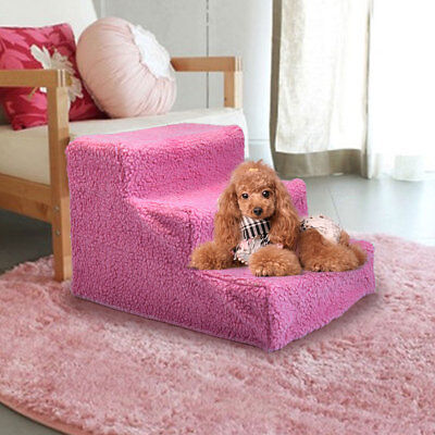 Pink Pet Stairs 3 Steps Ladder Indoor Cat Dog Ramp Ladder with Cover