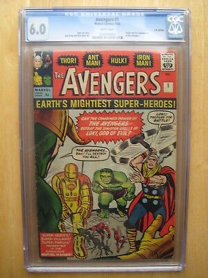 Marvel comics AVENGERS # 1 CGC 6.0 white pages Captain america Iron man 1963