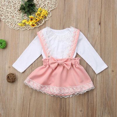AU Newborn Kid Baby Girls Lace Top Romper Bow Princess Party Skirt Dress Outfits