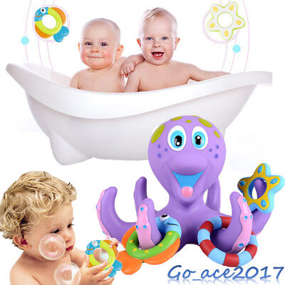 Floating Bath Toys Baby Octopus Kids Baby Infant Toddlers 5 Rings Learn Play Fun
