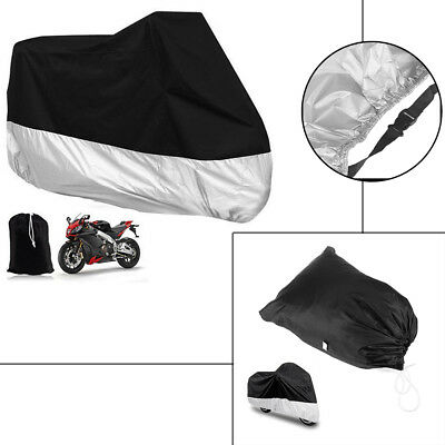 XL Waterproof Dust Rain Snow UV Vented Black Cover for Motorcycle/Bike/Scooter