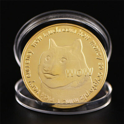 Animal Dog Gold Bitcoin Commemorative Round Collectors Coin Bit Coin Art  GiftLD