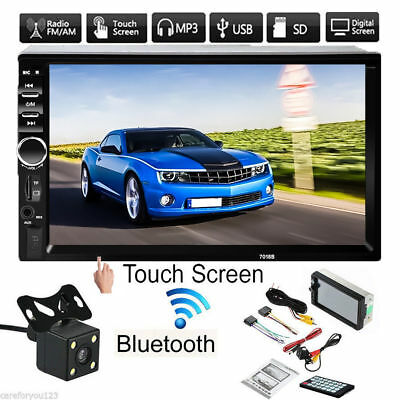 1x 7inch 2DIN Car MP5 Player Bluetooth Touch Screen Stereo Radio HD+Rear Camera