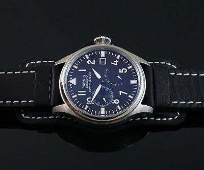 47mm PARNIS black dial power reserve date 2530 automatic black strap mens watch