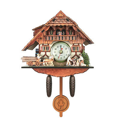 Retro Vintage Style Wall Clock Hanging Handcraft Wooden Cuckoo Clock G