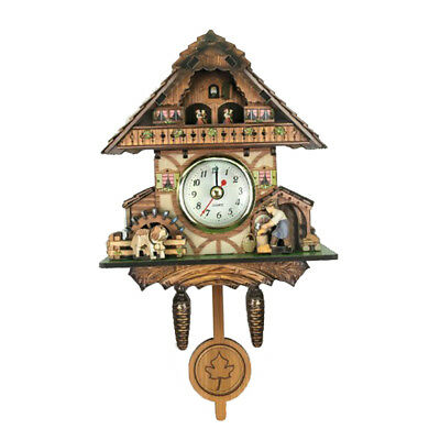 Retro Vintage Style Wall Clock Hanging Handcraft Wooden Cuckoo Clock H