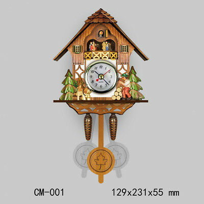 Retro Vintage Style Wall Clock Hanging Handcraft Wooden Cuckoo Clock A