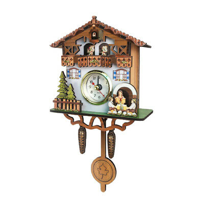 Retro Vintage Style Wall Clock Hanging Handcraft Wooden Cuckoo Clock D