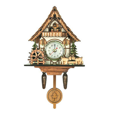 Retro Vintage Style Wall Clock Hanging Handcraft Wooden Cuckoo Clock E