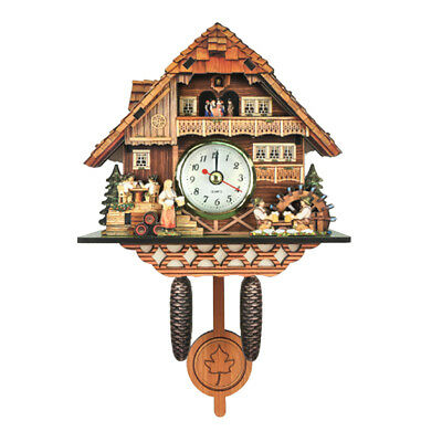 Retro Vintage Style Wall Clock Hanging Handcraft Wooden Cuckoo Clock K