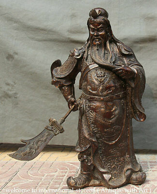 """26"""" Old Larger Chinese Bronze Stand Guan Gong Yu Warrior God Sword Dragon Statue"""