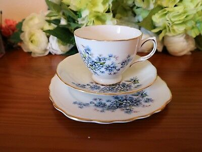 Royal Vale China Forget Me Not Floral Tea Set Trio