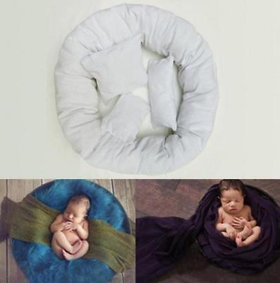 Set of 4 White Newborn Baby Photography Pillow Basket Filler Donut Posing Props