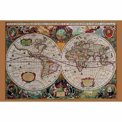 Vintage Classical Retro Large Old World Map Poster 36x24 Antique Wall Home Decor