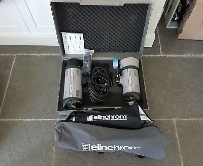 Elinchrom Flash equipment 2 flash heads, 2 softboxes, 2 stands, carrying case