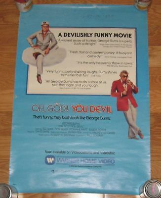 """1984 George Burns OH, GOD! You Devil HUGE WALL POSTER 19""""x28"""" acceptable!"""