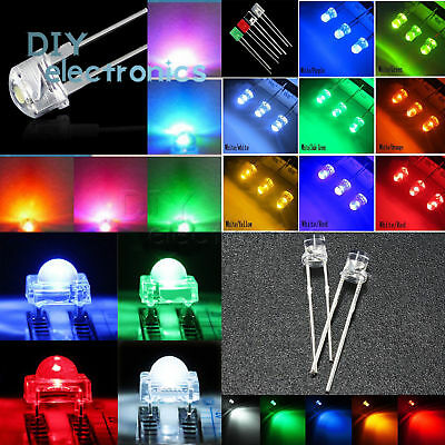 3-10mm LED Diodes Light Round/Straw Hat/Flat/Rectangle/Piranha Clear/DIFFUSED US