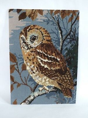 "Vintage Completed Large Needlepoint Tapestry Picture Of An Owl  18"" x 13"""