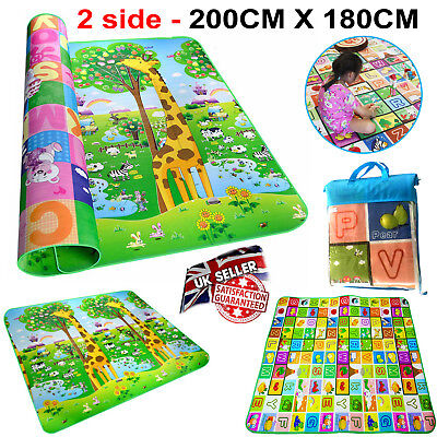 BABY Play MAT 2 SIDE Kids Crawling Game Educational Soft Foam Carpet 200 X 180CM