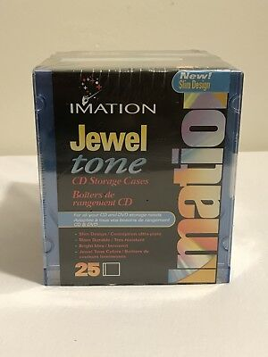 Imation 25 Pack CD / DVD Cases  Slim Line Jewel Tone Colors Storage 51122 New