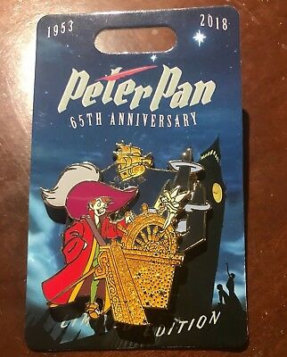 Peter Pan Disney Parks 65th Anniversary Captain Hook Pin LE 4000 2018